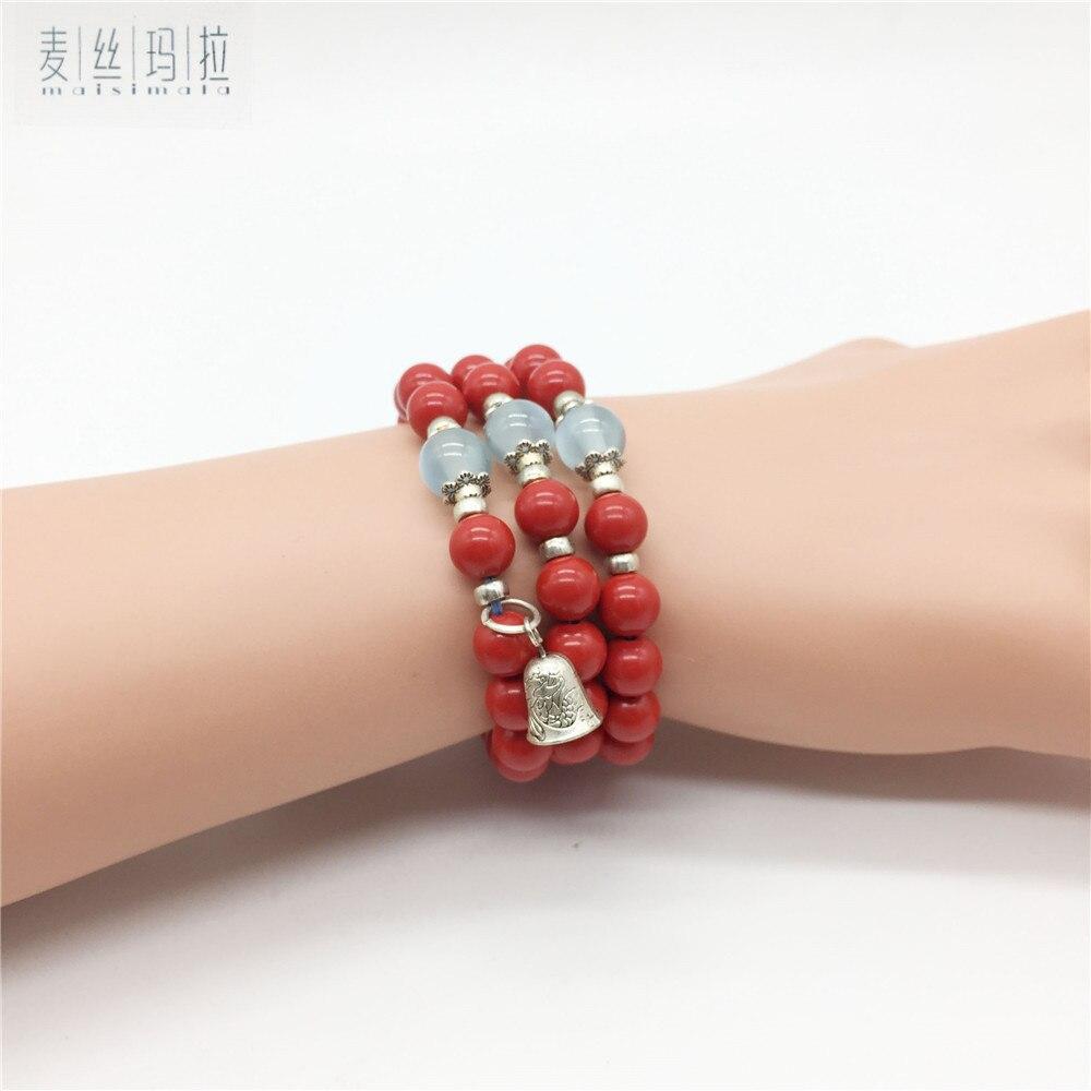 Brand Handmade Jewellery Red Cinnabar Bead bracelet Little Pendant 2017 New Fashion Gifts Women Bracelet The New year Gifts