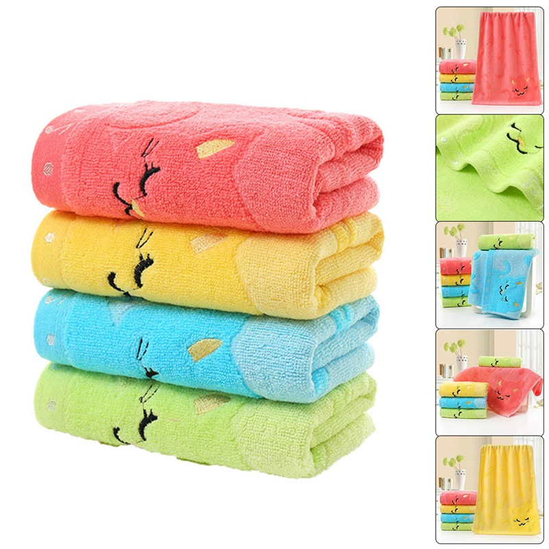 Children Jacquard Embroidered Musical Note Cat Cartoon Baby Towel Washcloth Bathing Feeding Wipe Infant Newborn Towel ...