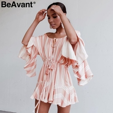 BeAvant Off shoulder floral embroidery jumpsuit romper women Sexy v neck  drawstring short playsuit Casual beach summer jumpsuit