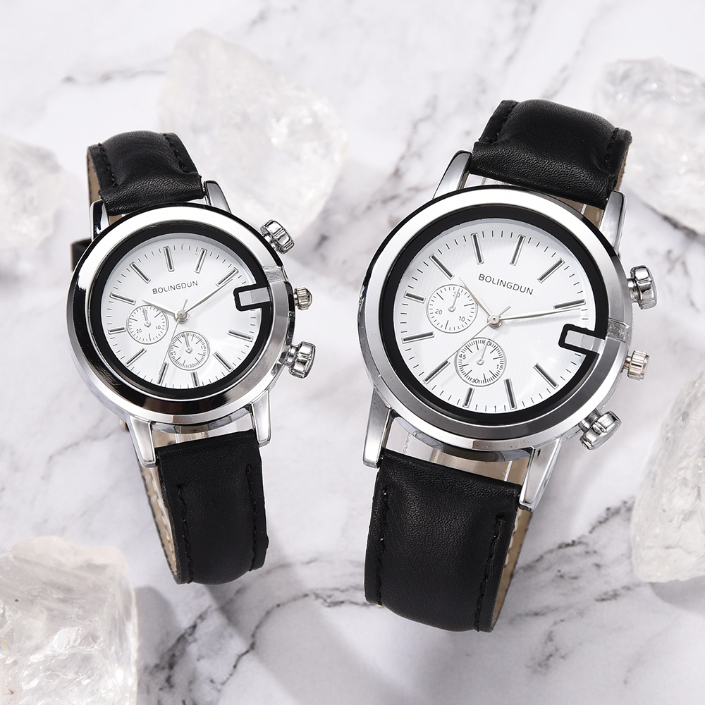 2/PC Wristwatch 2019 Brand Couple Watches Fashion Casual Black Quartz Women Men Watch Minimalism Lover's Gift Clock Boys Girls