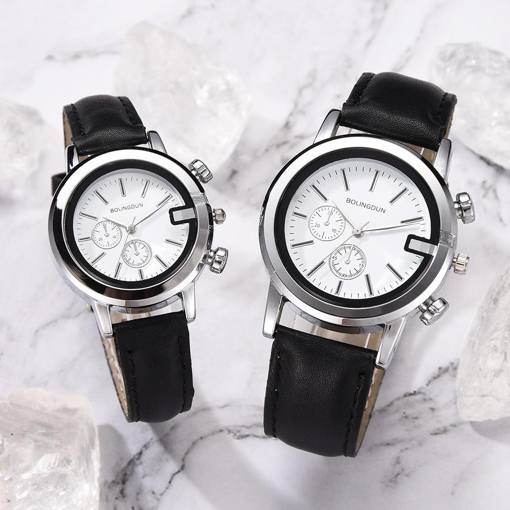 2/PC Wristwatch 2019 Brand Couple Watches Fashion Casual Black Quartz Women Men Watch Minimalism Lover's Gift Clock Boys Girls