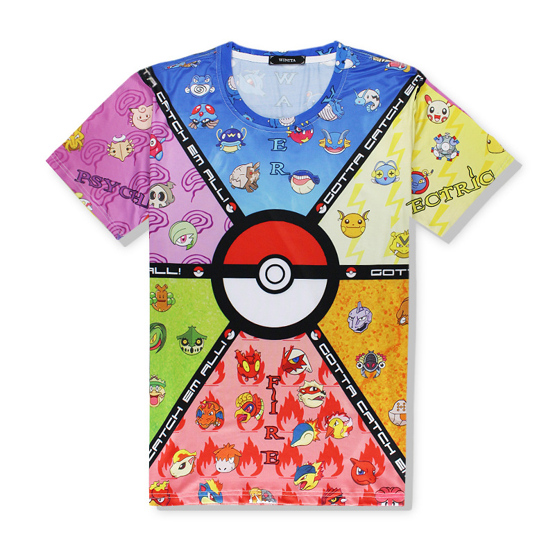 High quality comfortable mens t-shirts pokemon print t shirt men breathable pokemon mans T-shirt sexy yoga fitness gym men