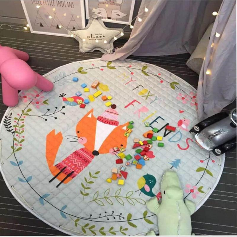 Tapis rond 150*150 cm grande surface imprimé renard tapis bébé tapis de jeu/tapis Patchwork pique-nique couverture enfant ramper tapis