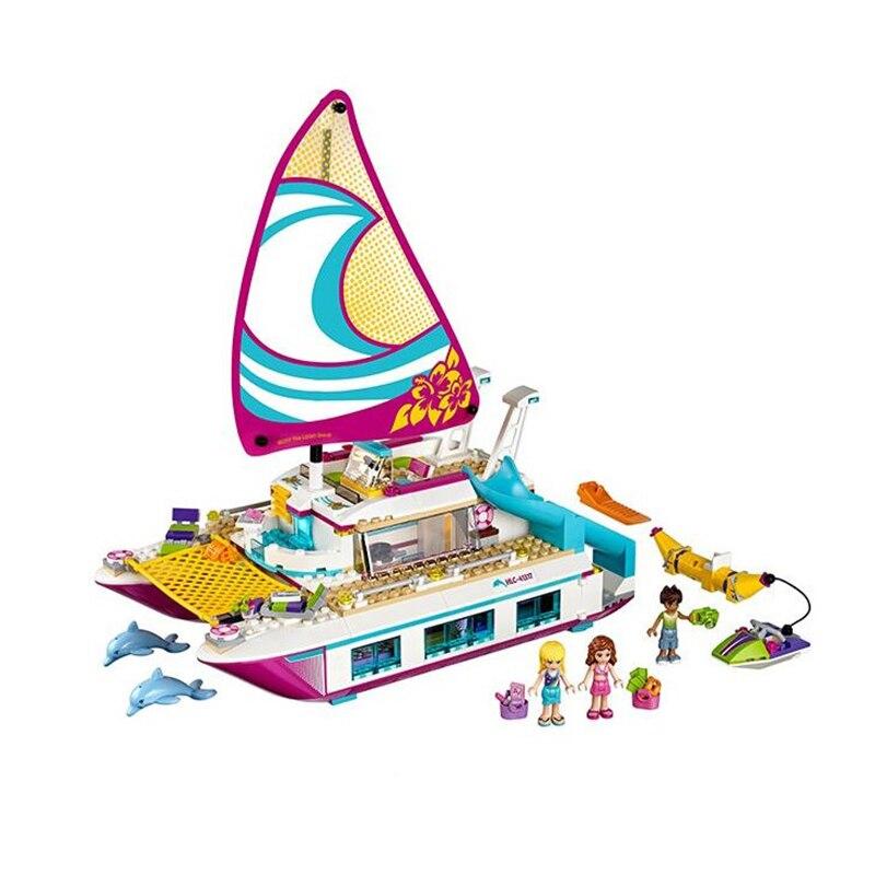цены на Friends Dolphin Cruiser 01038 Sunshine Catamaran Building Block Bricks Set Toys Gifts Compatible Legoing Girls 41317 41015 в интернет-магазинах