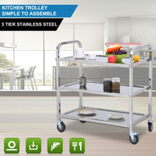 3 Layers Stainless Steel Kitchen Trolley Universal Transport
