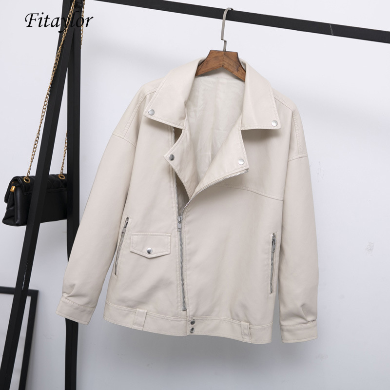 Fitaylor Autumn Women Faux Leather Jacket Casual Loose Soft Pu Motorcycle Punk Leather Coat Female Zipper Rivet Outerwear