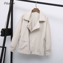 Fitaylor Jacket Leather Coat Motorcycle Autumn Women Rivet Punk Outerwear Casual Zipper