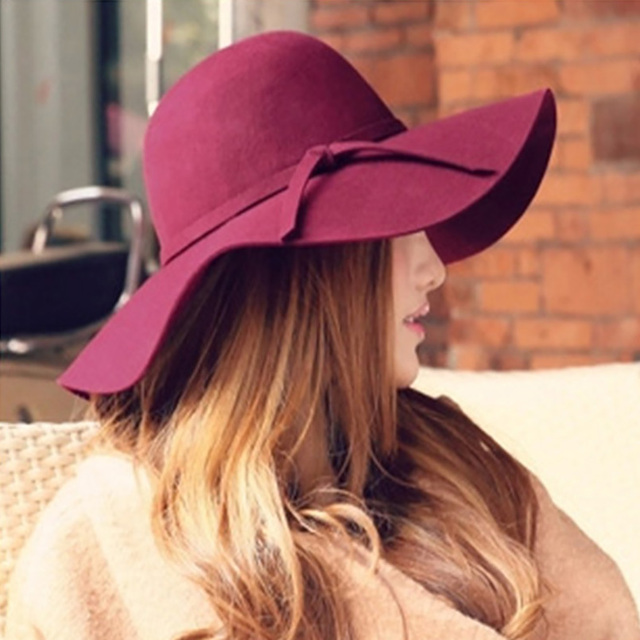 0f2b1740e 2018 Spring Polyester Woolen Solid Women Winter Bucket Fedoras Hat Wide  Brim Dome Female Floppy Gorros Top Hat Female Ladies Cap-in Fedoras from ...