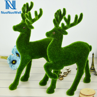 NuoNuoWell Artificial Grass Handcraft Turf Animals DIY Reindeer Christmas Ornaments Fake Elk Decorative Home Table Dispaly