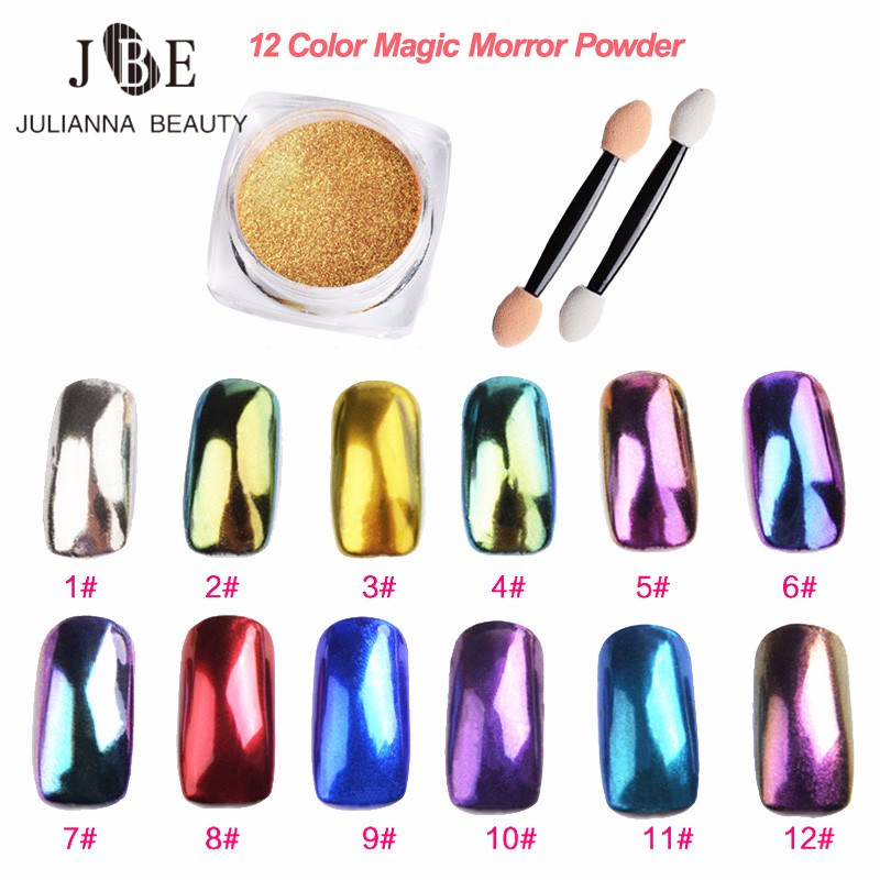 2g fai da te Shinning Chrome Magic Mirror polvere metallo Nail Art Suggerimenti Decorazione Pigmento Glitter Polvere Manicure + Sponge Brush 12 colori