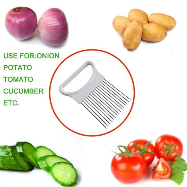 Onion Holder Stainless Steel Vegetable Cutter Slicer Gadget 4