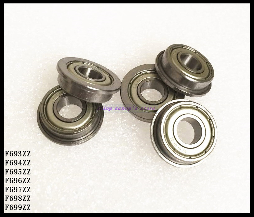 10pcs/Lot F695ZZ F695 ZZ 5x13x4mm Flange Bearing Deep Groove Ball Bearing Mini Ball Bearing Brand New 5pcs lot f6002zz f6002 zz 15x32x9mm metal shielded flange deep groove ball bearing