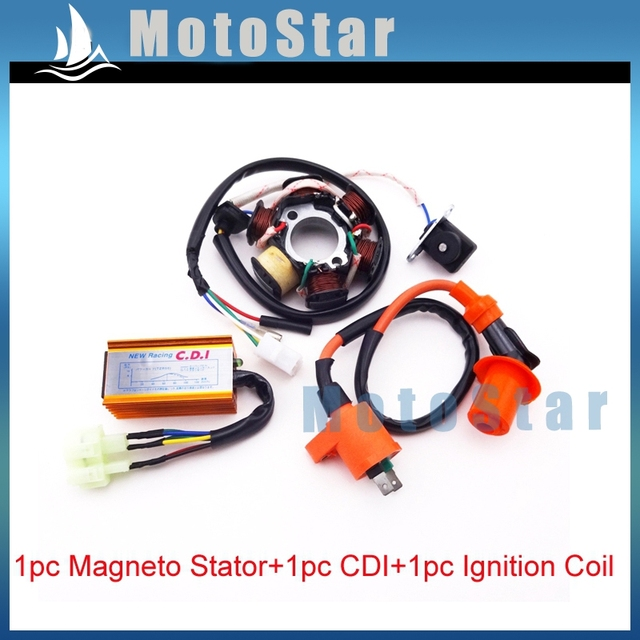 6 Pin Ac Cdi Box Wiring Diagram 110v Sub Panel 50cc Chinese Scooter Diagrams Performance Ignition Coil Poles Magneto Stator Pins Wires Sunl