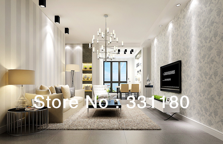 2014new Black and white Vertical stripe wallpaper for walls roll