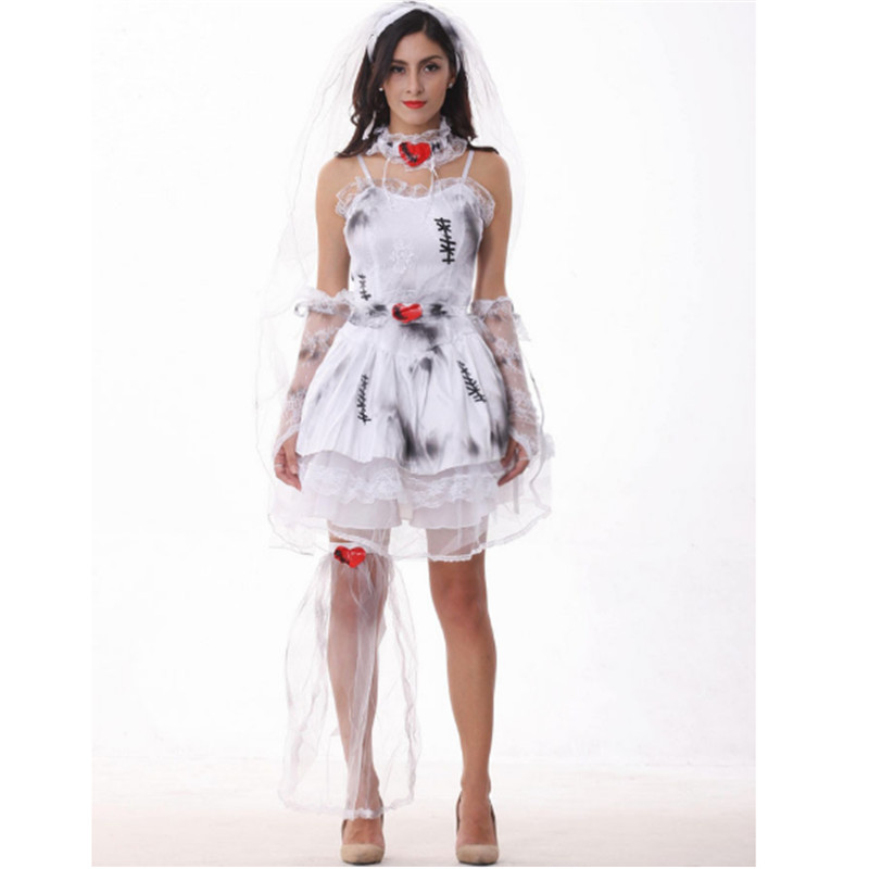 high quality White and Gray Ghost Bride Costumes Halloween Sexy demon Role Play Masquerade 2018 new Woman Zombie Cosplay Dress