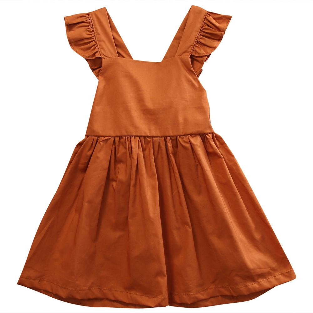 Ruffles Baby Girl Back Cross Dresses Infant Toddler Girls Sleeveless Brown Summer Princess Dress Sundress Clothes cute red and black princess dress sequin toddler summer dresses ruffles with bow baby girl sleeveless 1st birthday dress