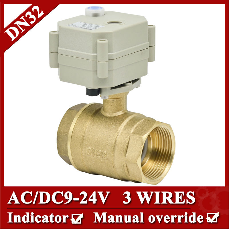 ФОТО 1 1/4'' Brass Motorized Valve, AC/DC9-24V electric motorized valve 3 wires, electric valve with manual override and indicator