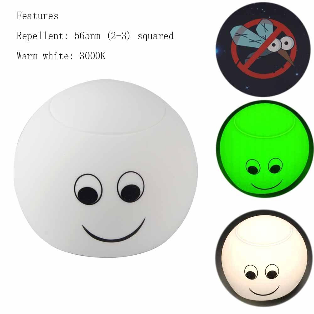 USB charging LED night light smiling soft eye 3modos 565nm repellent soft light LUZ Bulb