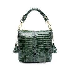 Alligater Print Genuine Leather Bag Female Fashion Bucket Messenger Bag Crocodile Small Women Leather Handbag Ladies Hand Bag