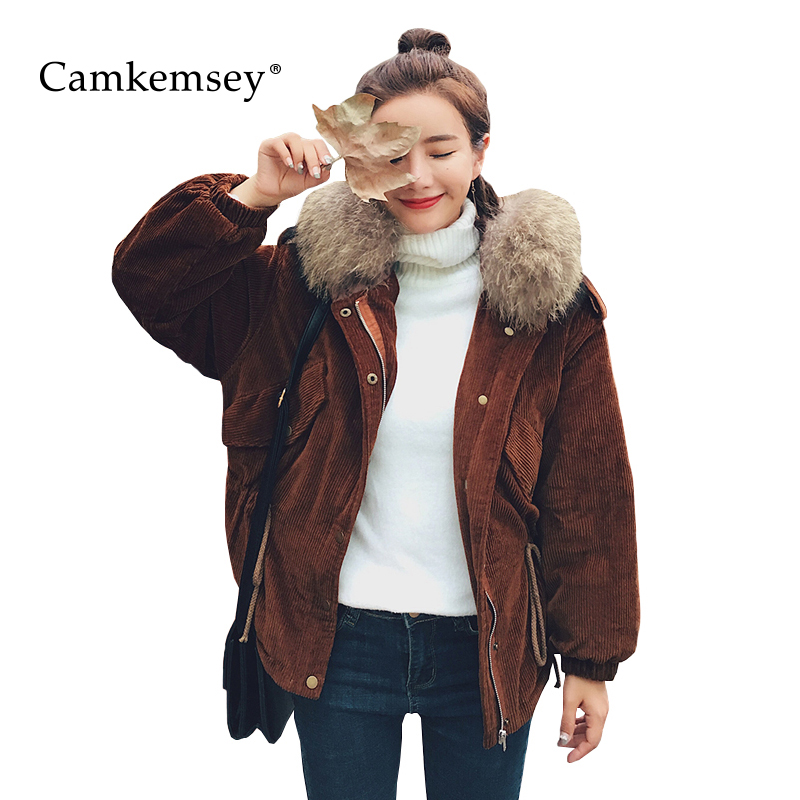 CamKemsey Warm Corduroy Winter Coat Women Fur Collar Hooded Jacket Women Casual Pockets Thicken Cotton Padded Parkas Overcoat территория спид
