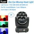 2xlot Bee Eye Moving Head LED Wash Effect сценическое освещение 7х40 Вт RGBW 4в1 Профессиональный движущийся головной Луч света 2-60 градусов Zoom