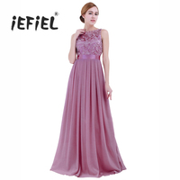 IEFiEL Plum Pink Women Ladies Embroidered Chiffon Bridesmaid Party Dress Long Evening Prom Gown Dresses Clothing