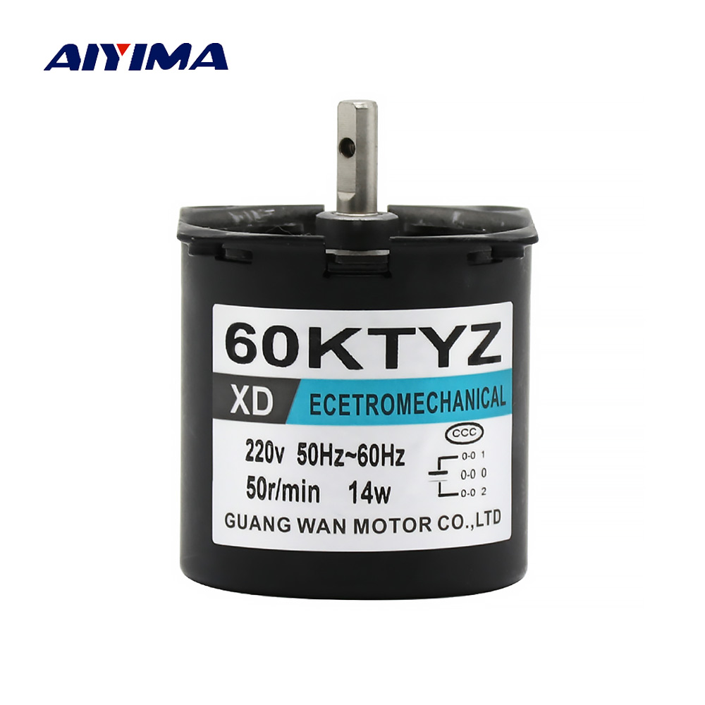 Aiyima Micro Synchronous Motor 60KTYZ AC220V 14W High Toque Permanent Magnet Gear Reduction Motor CW/CCW MoteurAiyima Micro Synchronous Motor 60KTYZ AC220V 14W High Toque Permanent Magnet Gear Reduction Motor CW/CCW Moteur