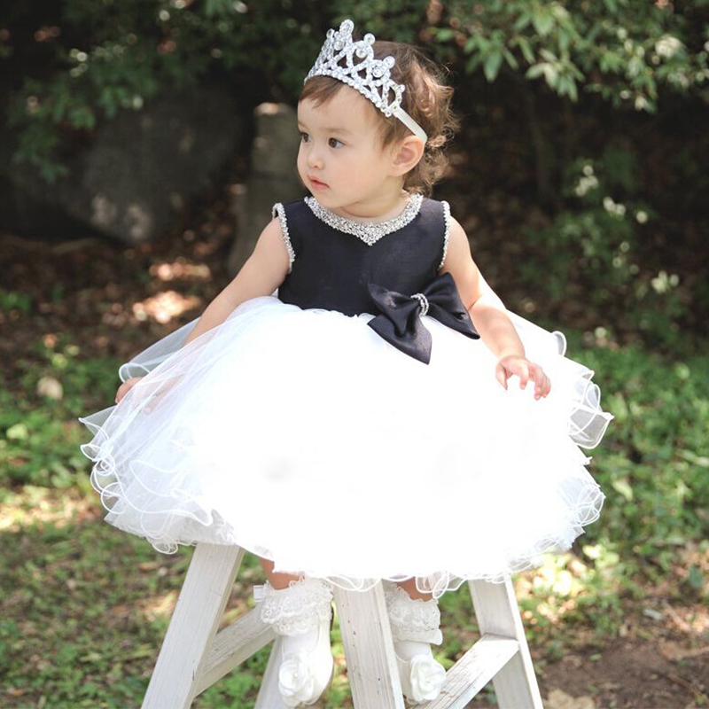 Sliver Bling Crystal Black White Tulle flower girl dresses with Bow baby Birthday Party Dress wedding occasion ball gowns with logo sliver