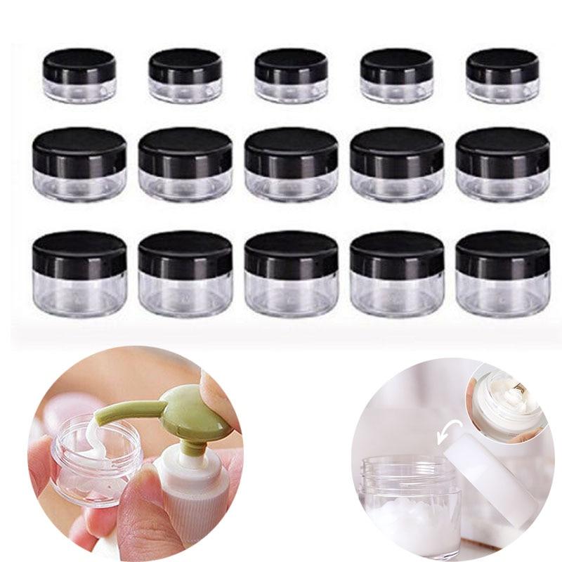 100pcs 2g/3g/5g/10g/15g/20g Empty Plastic Clear Cosmetic Jar Makeup Container Lotion Bottle Vials Face Cream Sample Pots Gel Box