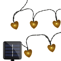 Waterproof Outdoor Lighting LED Bulbs Solar Powered 20 LEDs Romantic Heart String Lamp Light Home Yard