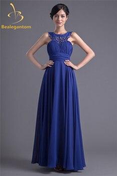 Bealegantom New Sexy Backless Beading A-Line Prom Dresses 2019 Pleat Chiffon Plus Size Evening Party Gowns Vestido Longo BP20