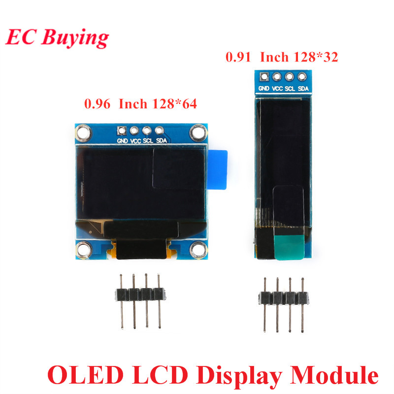 0.91 0.96 Inch I2C Serial White OLED LCD Display Module 128x32 128x64 SSD1306 12832 12864 LCD Screen Communicate For Arduino
