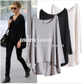U06 2016 New Celebrity Style Slouchy Coloured Full Sleeve Oversized Uneven Hem  Long Top T-shirtModal T-Shirts Tees Free Shiping