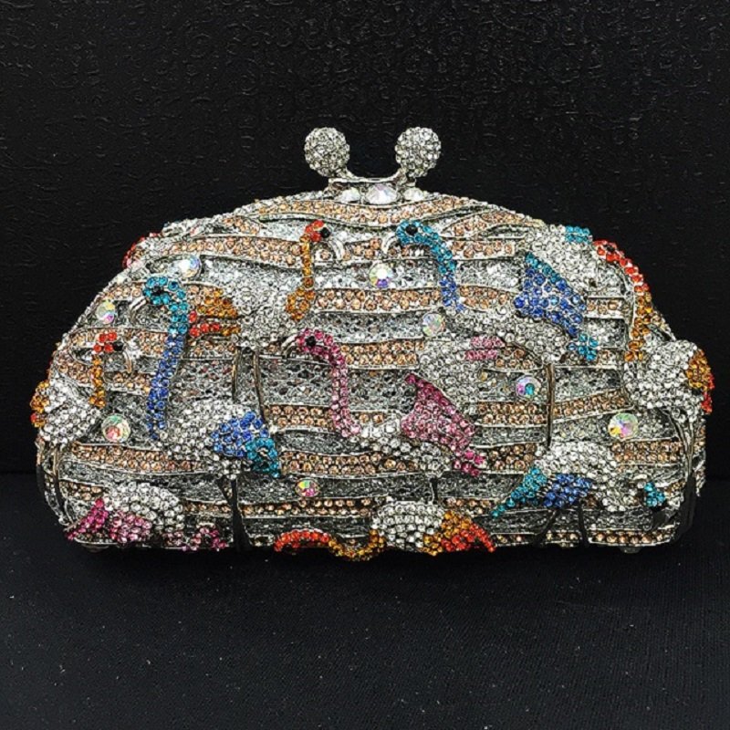 ФОТО Crystal FLAMINGO Wedding Bridal Party Night hollow Metal Evening purse clutch bag handbag case box