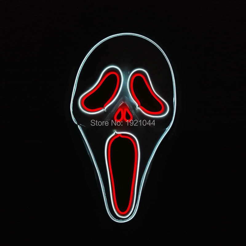 Double Color EL Wire Glowing Scream Mask Halloween Party masquerade masks halloween horror mask
