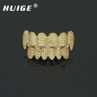 2017 New Custom Fit Hip Hop Brillant Plein Iced Out AAA Cubique Zircon Cristal Grill Dents Or Argent Croc Top & Bottom Grill Ensemble