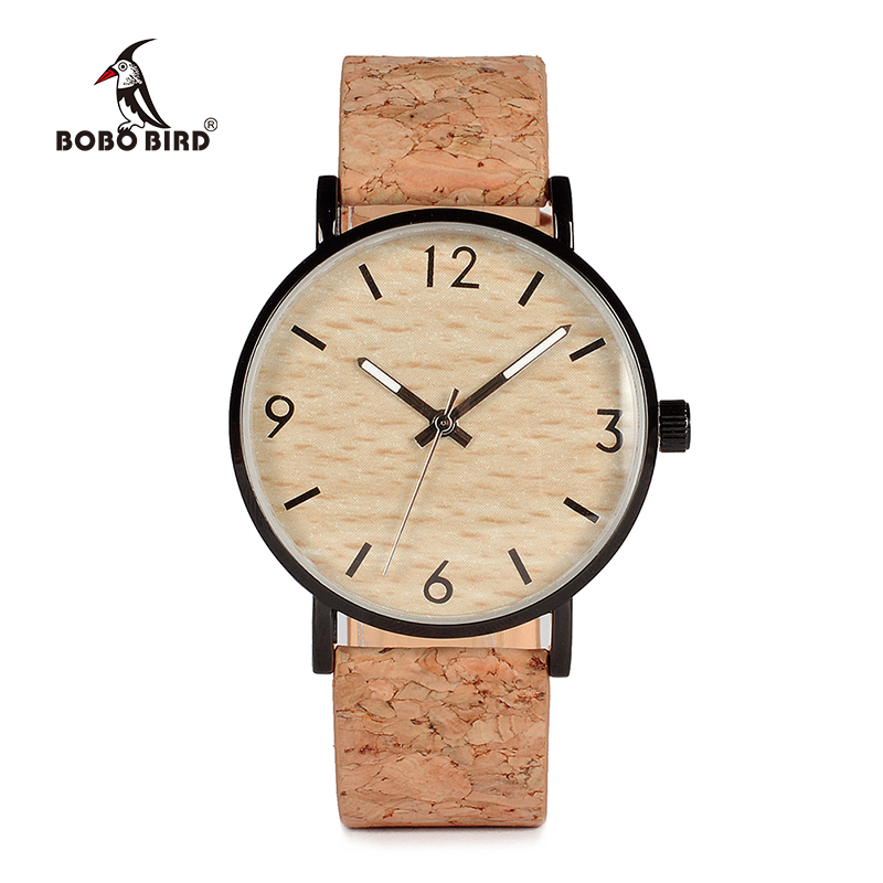 BOBO BIRD Mens Watches Wood Grain Dial Stainless Steel Case Quartz Watch with Soft Cork Bandfor