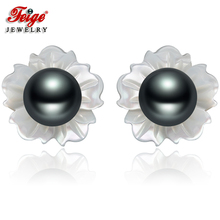 FEIGE 6-7mm Black Freshwater Pearls 925 Silver Shell Carvings Stud Earrings For Women Brincos Exclusive Design Fine Jewelry