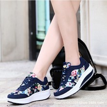 Flat Platform Womens Shoes Spring/Autumn 2019 New Print Fashion Casual Breathable Woman Round Toe Lace-Up Sneakers Women