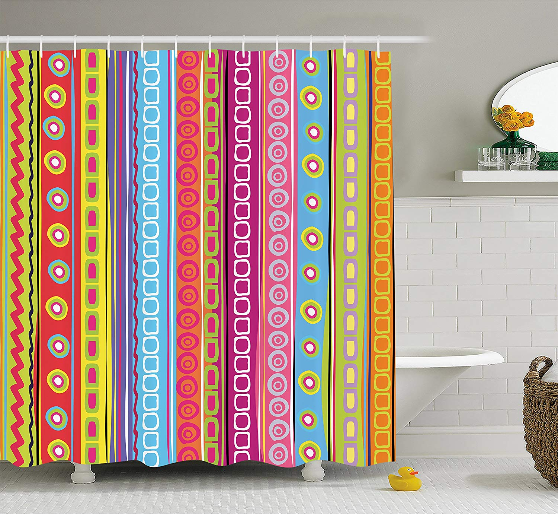 Us 13 02 43 Off Striped Shower Curtain Colorful Retro Stripes Circles Boho Pattern 90 S Style Ethnic Rainbow Art Print Fabric Bathroom Decor In