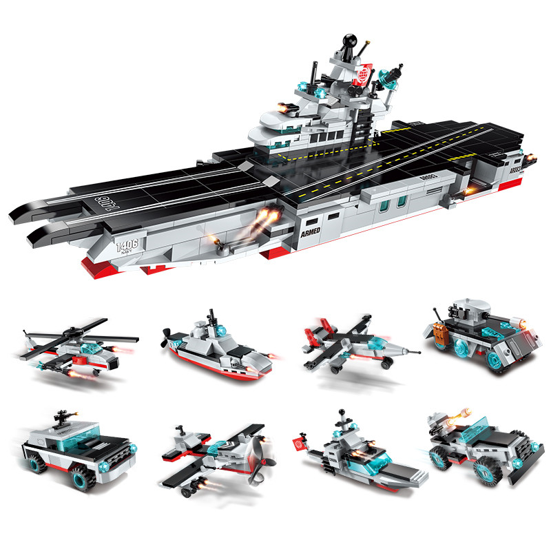 sermoido 8 in 1 Military Army Warship Building Blocks Compatible With Lego Destroyer Aircraft Carrier Bricks Kids Toys DBP282 kaygoo building blocks aircraft airplane ship bus tank police city military carrier 8 in 1 model kids toys best kids xmas gifts
