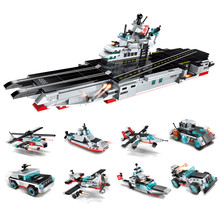 sermoido 8 in 1 Military Army Warship Building Blocks Compatible With Legoings Destroyer Aircraft -Carrier Bricks Kids Toys
