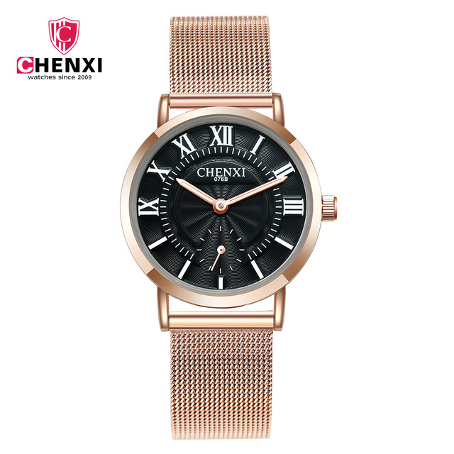 2018 CHENXI Lovers' Watches Fashion Roma dial Waterproof Couple Watches Men and Women Rose Gold mesh band Quartz WristWatches