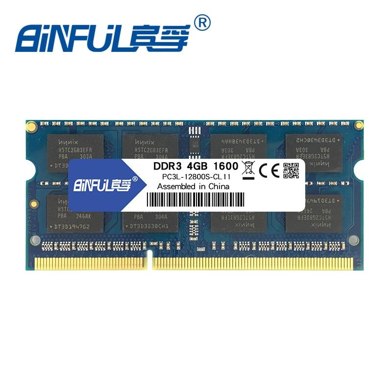 BINFUL nouvelle marque DDR3L 4 GB 8 GB 1600 MHz PC3L-12800 memoria ram basse tension 1.35 v pour ordinateur portable portable sodimm
