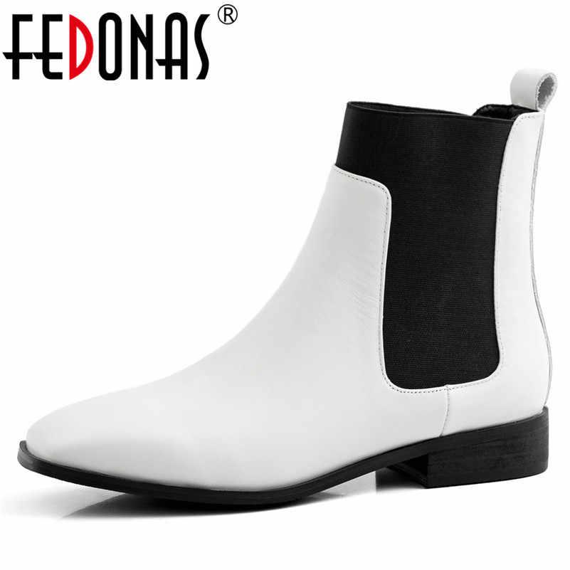 FEDONAS 2020 klasyczne okrągłe Toe kobiety kostki buty gumką Chelsea buty prawdziwej skóry Party buty biurowe kobieta krótkie buty