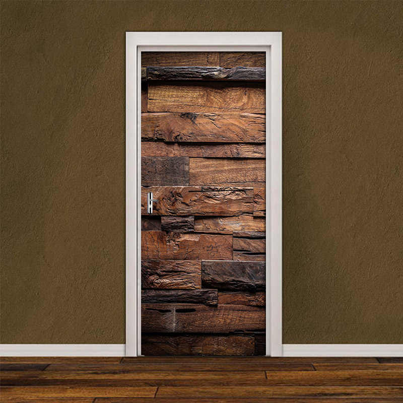 Canvas 3d Print Vintage Wood Grain Picture Decor Stickers Self Adhesive For Living Room Door Renovation Waterproof Mural Decals