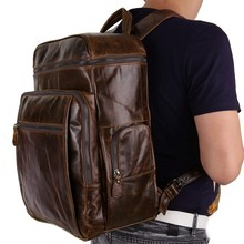 Men Cowhide Genuine Backpack Vintage Oil Wax Leather Backpack Casual Multi-pocket Daypacks Leather 15 Inch Laptop Bag 7004