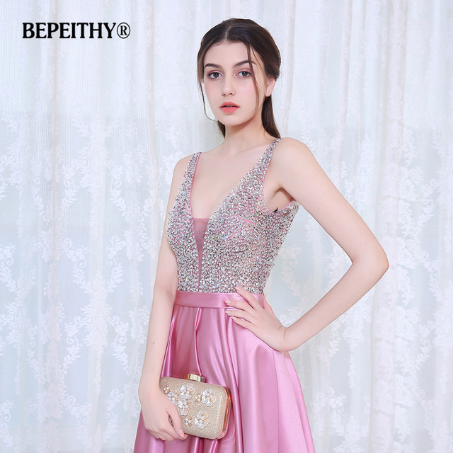 BEPEITHY V-Neck Beads Bodice Open Back A Line Long Evening Dress Party Elegant Vestido De Festa Fast Shipping Prom Gowns 5