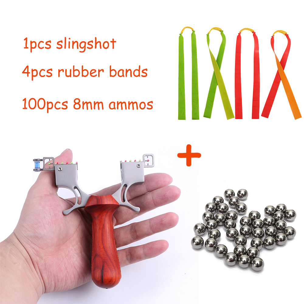 Toparchery 98K Model Professional Hunting Slingshot Sport Slingshots Catapult With 4pcs Rubber Bands 100pcs 8mm Ammo Balls
