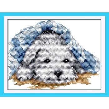 Ewige liebe Weihnachten Kleine schöne hund Chinesische kreuz stich kits Ökologische baumwolle 11CT und 14CT Neue store sales förderung